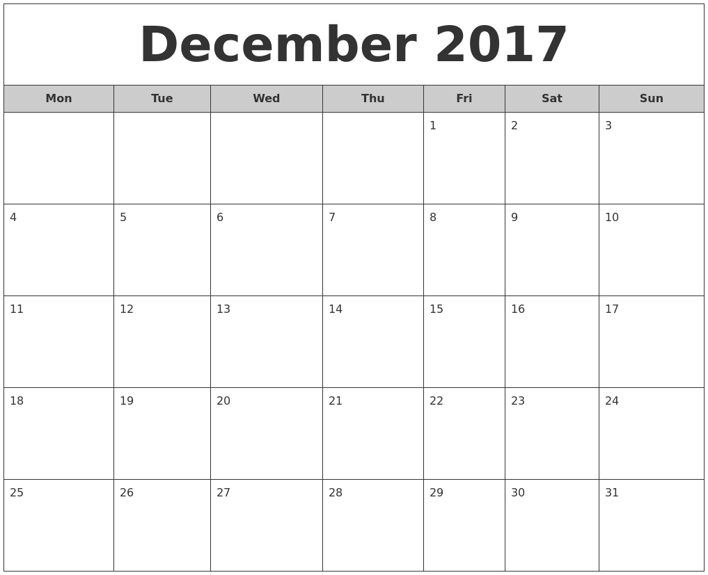 Calendar Monthly 2017 : December free monthly calendar