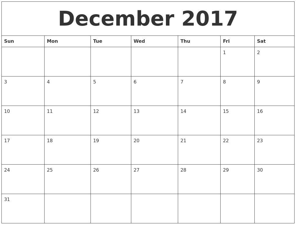 free printable monthly calendar 2017