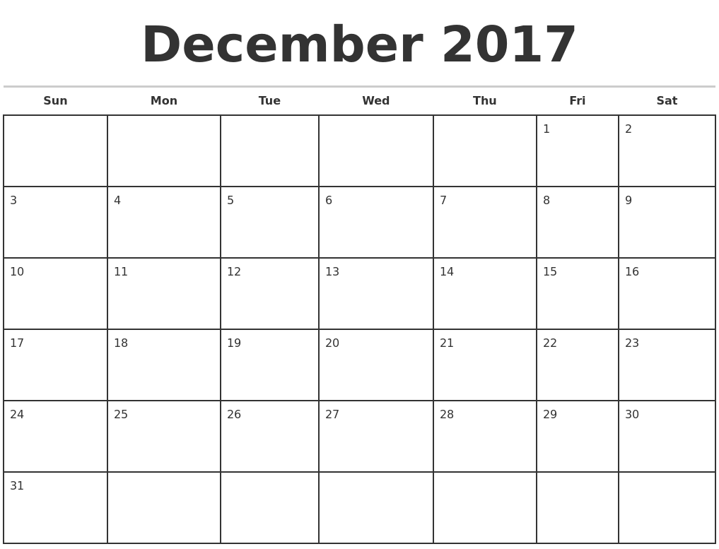 monthly calendar 2017 template