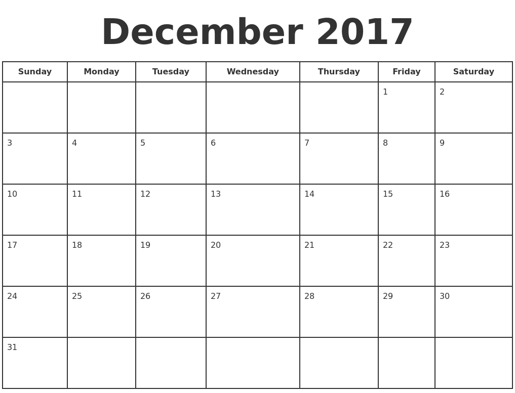 2017 monthly calendar to print