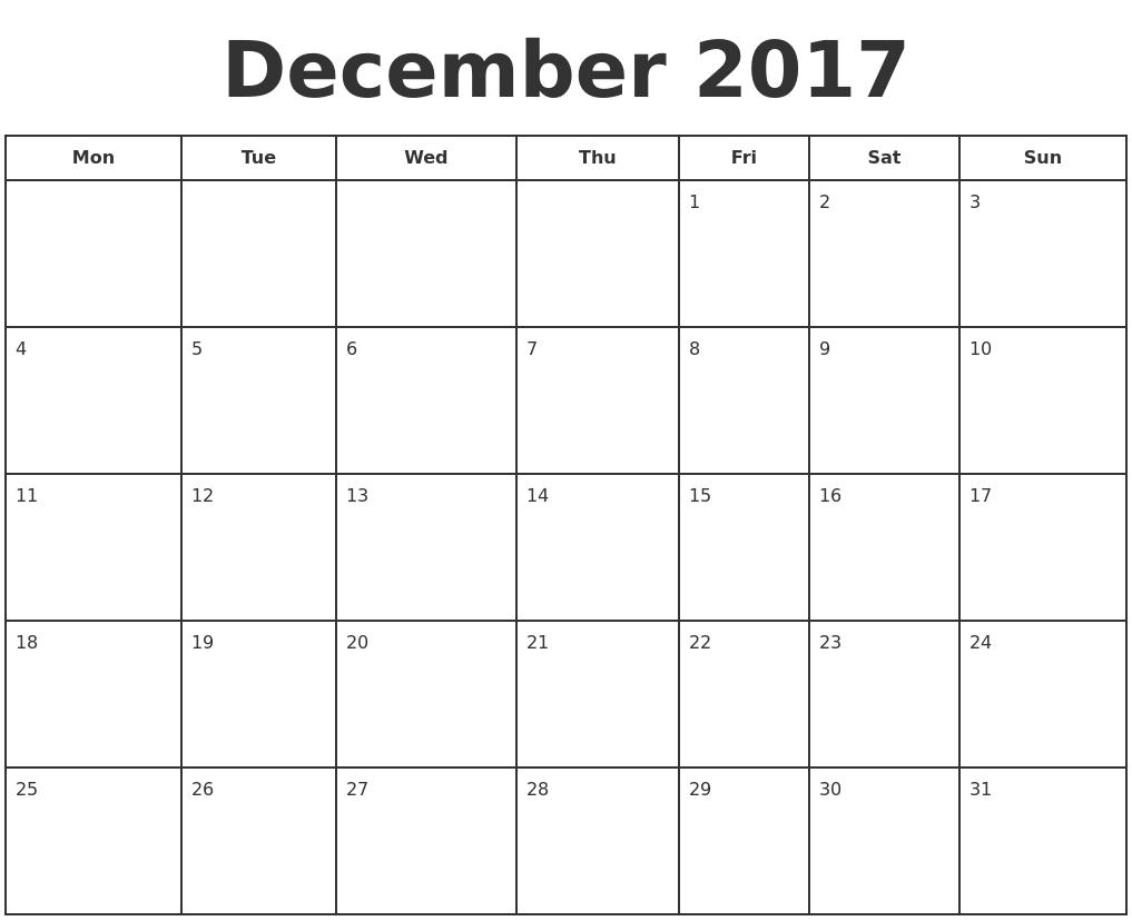 October Calendar 2017 Monday Start
