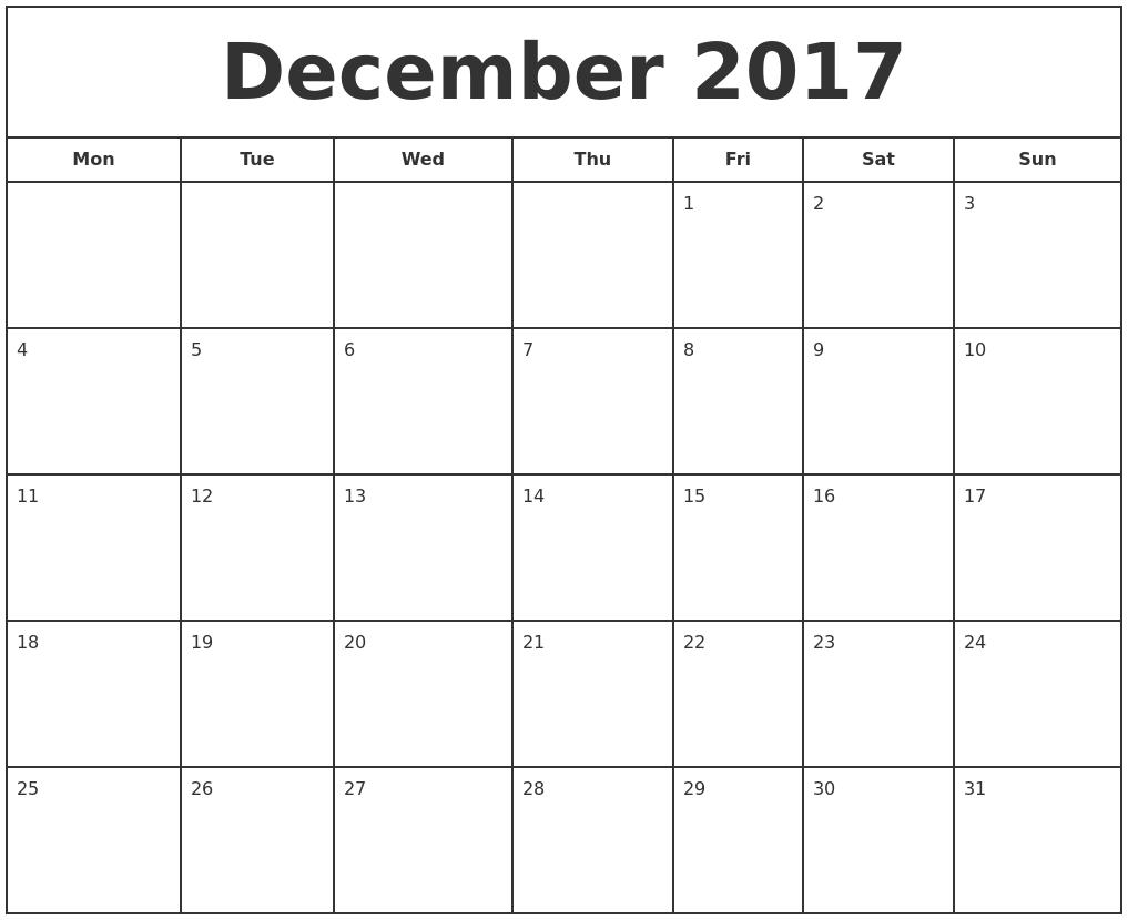 December 2017 Print Free Calendar