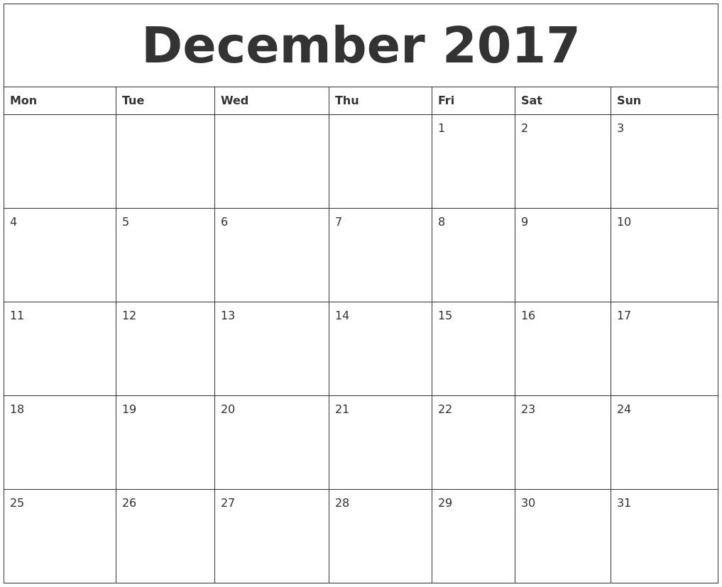 december 2017 print out calendar