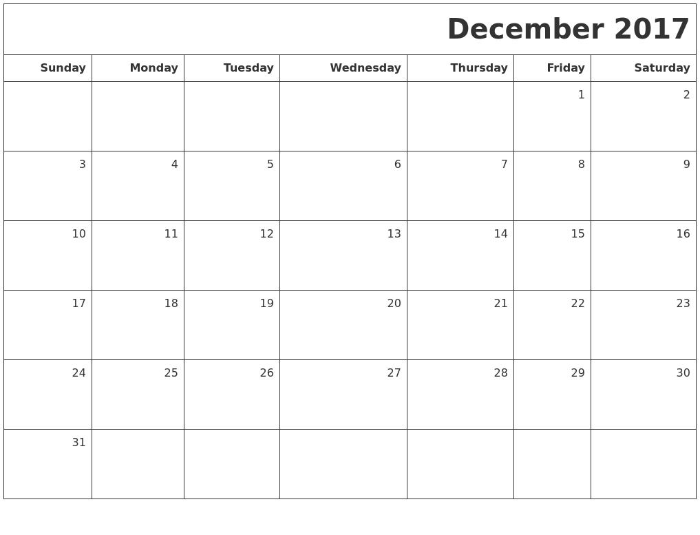 December 2017 Printable Blank Calendar