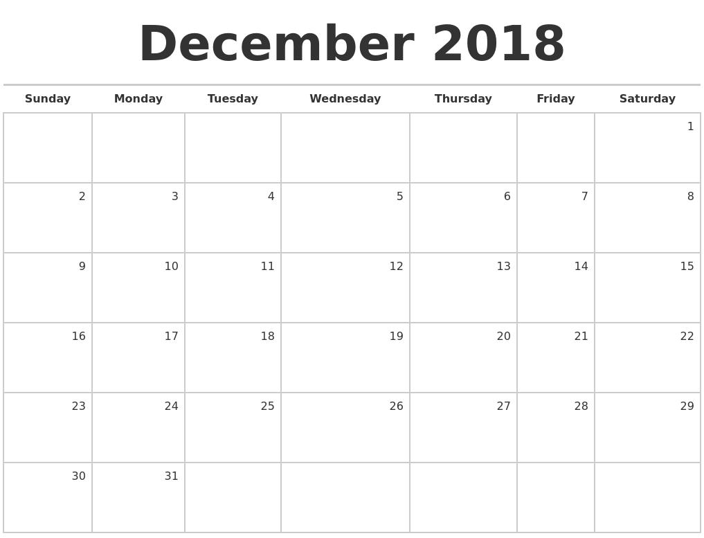 blank 2018 december calendar