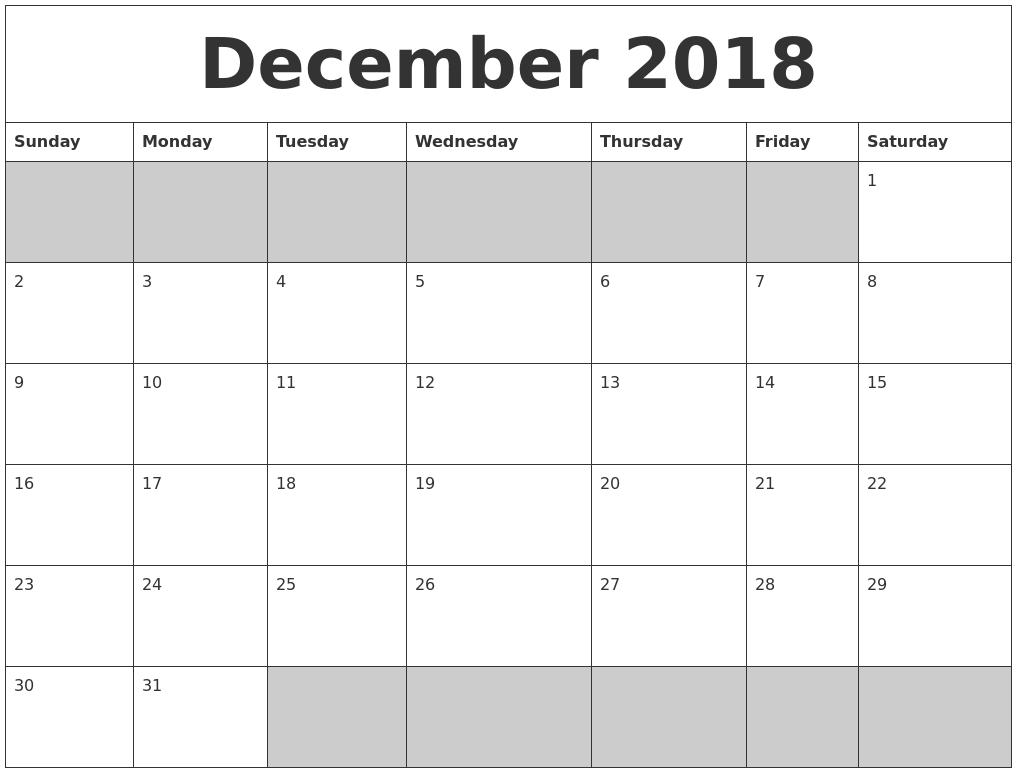 dec 2018 blank calendar