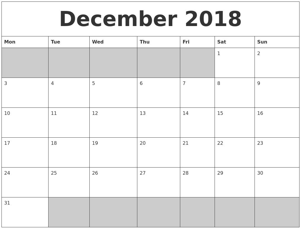 Blank Calendar December Pdf : December blank printable calendar
