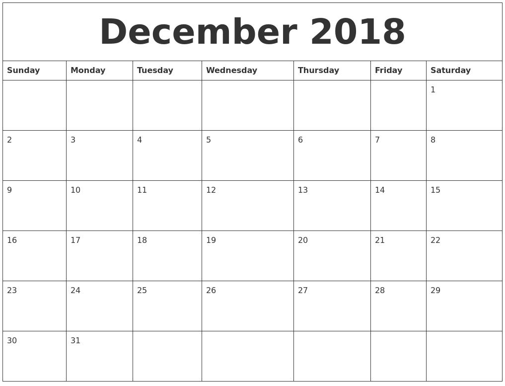 December 2018 CalendarPrintable