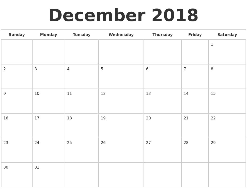 december 2018 calendars free