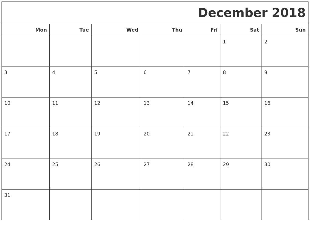 December 2018 Calendars To Print