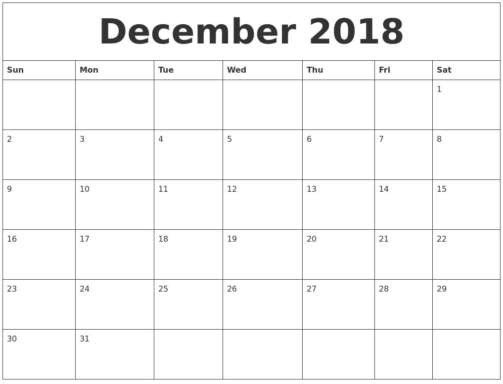 December 2018 Cute Printable Calendar