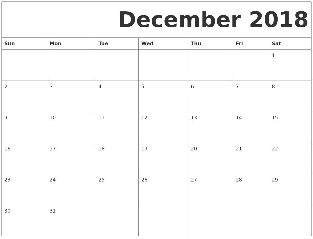 printable calendars december 2018