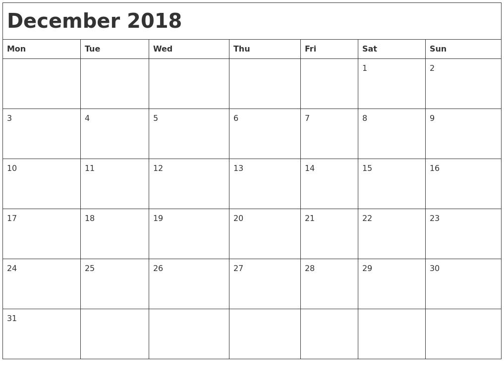 december 2018 month calendar
