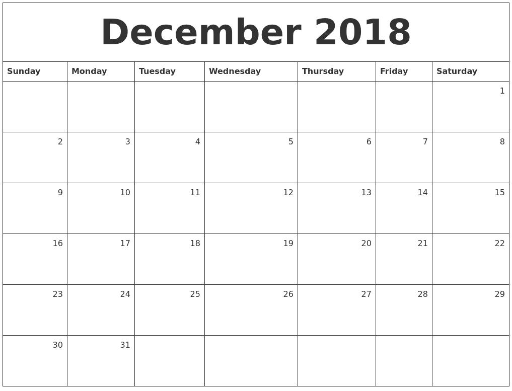 December 2018 Monthly Calendar