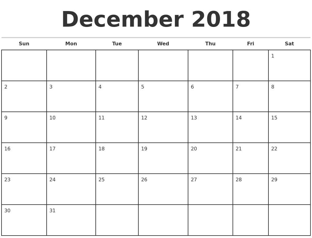 december 2018 monthly calendar template