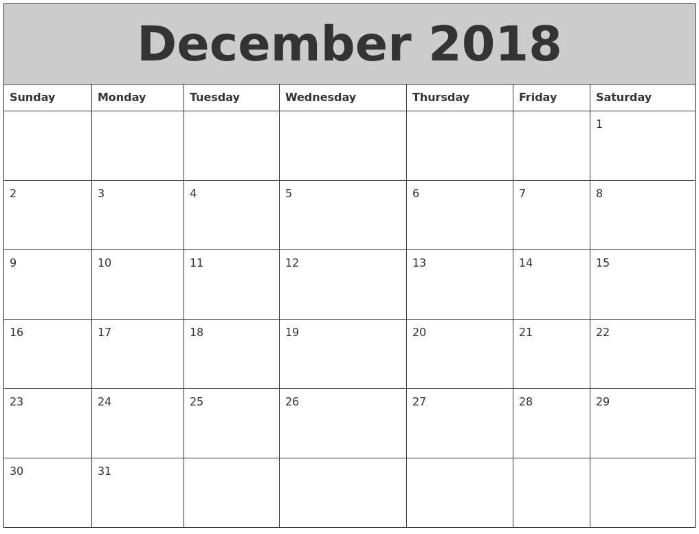 December 2018 My Calendar