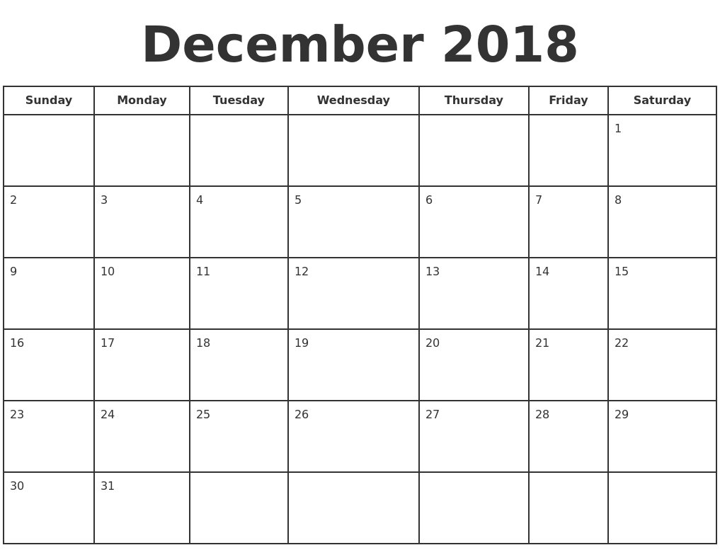 december 2018 print a calendar
