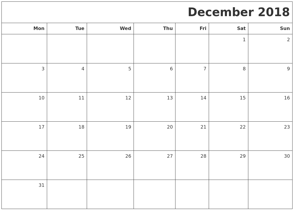 december 2018 printable blank calendar