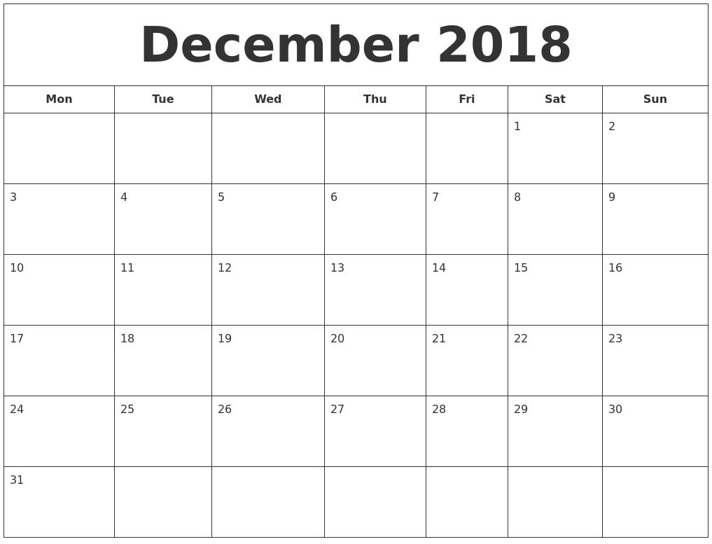 december 2016 printable calendar pdf