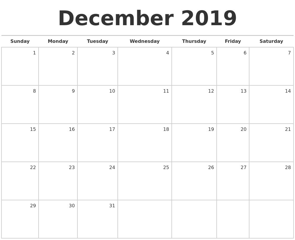 december 2019 blank monthly calendar