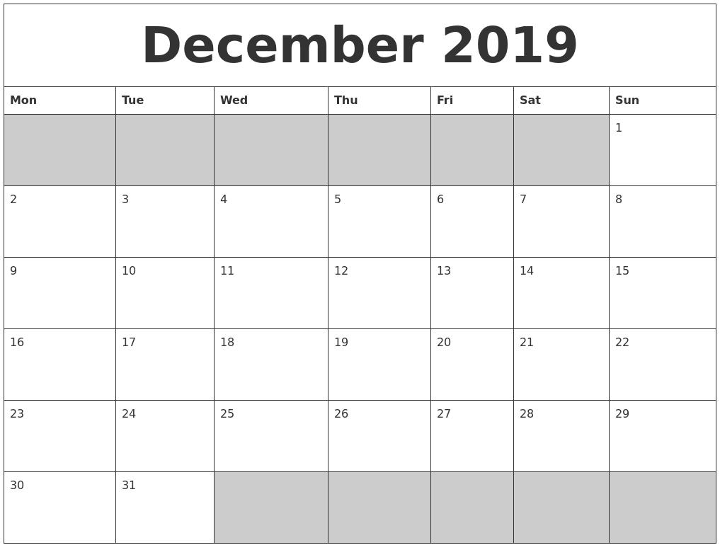 december 2019 blank printable calendar