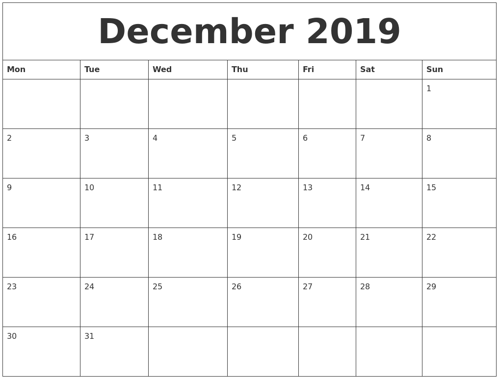 photograph about Printable Monthly Calendar December named December 2019 Calendar