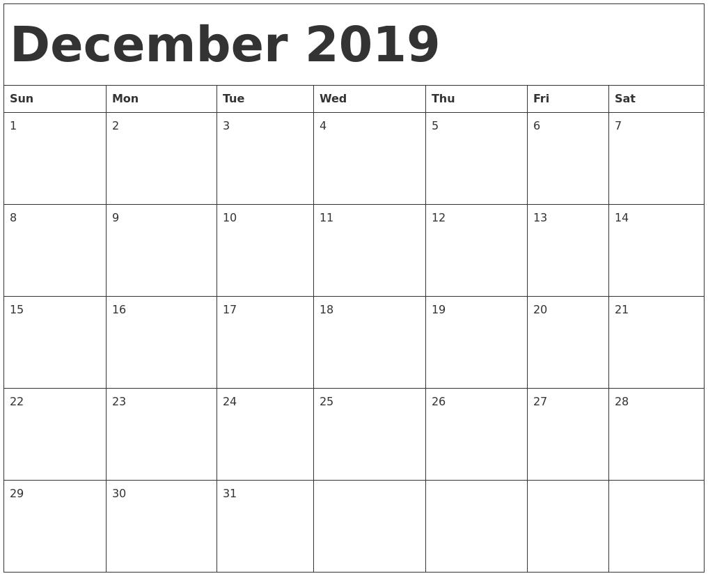 december calendar template