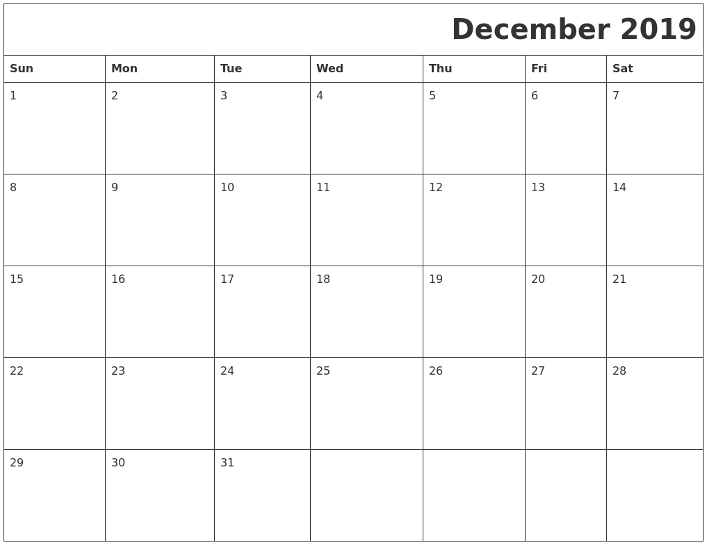 December 2019 Download Calendar
