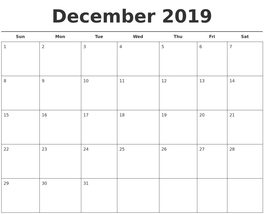 december 2019 free calendar template