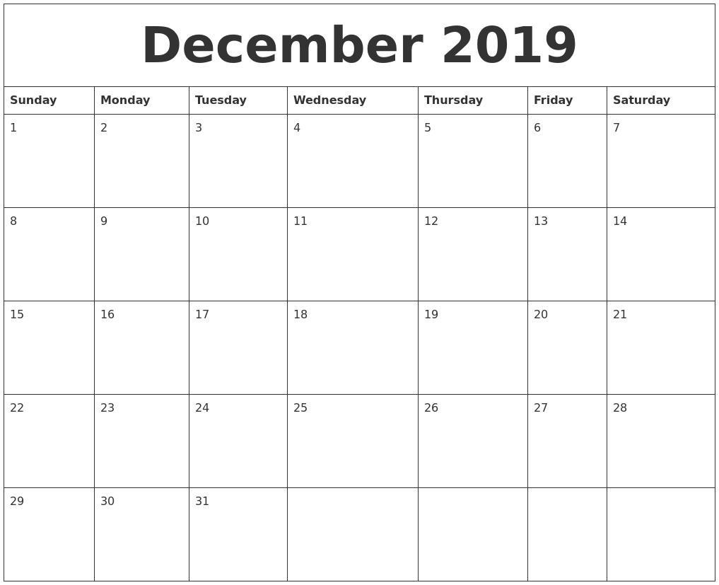 December 2019 Free Printable Monthly Calendar