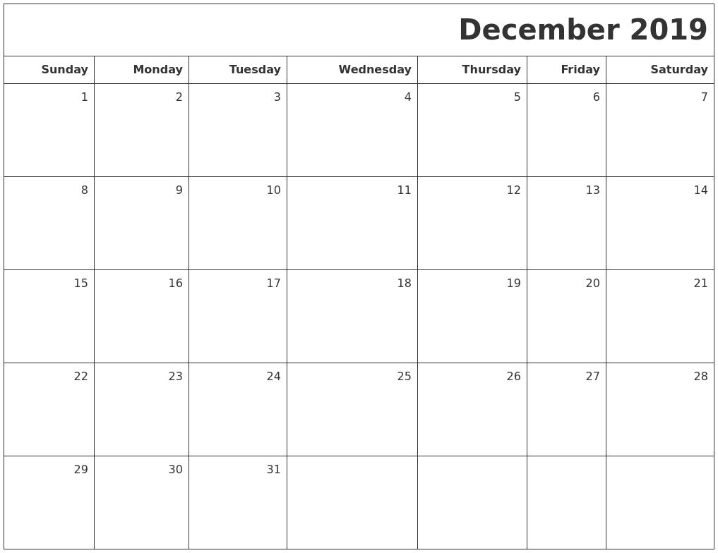 December 2019 Printable Blank Calendar PDF's