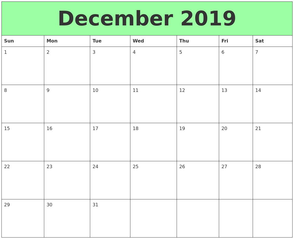 December 2019 Printable Calendars
