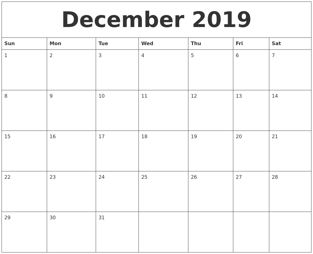 December 2019 Printable December Calendar