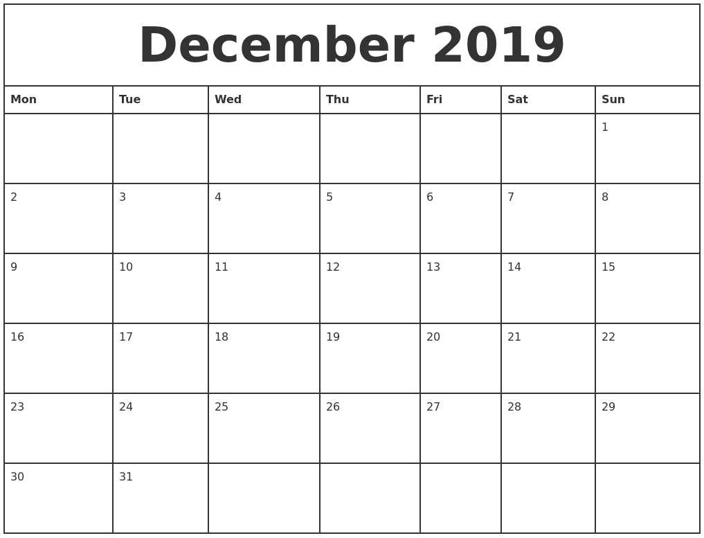 December 2019 Printable Monthly Calendar PDF's