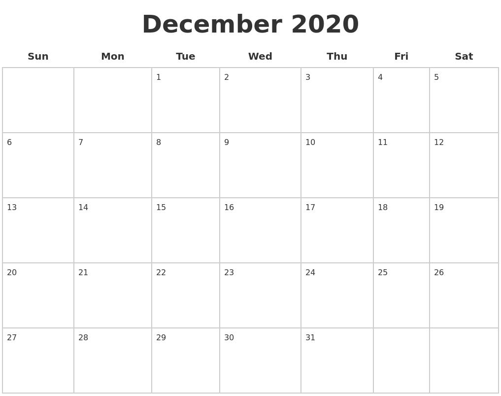 December Calendar 2020 : December blank calendar pages