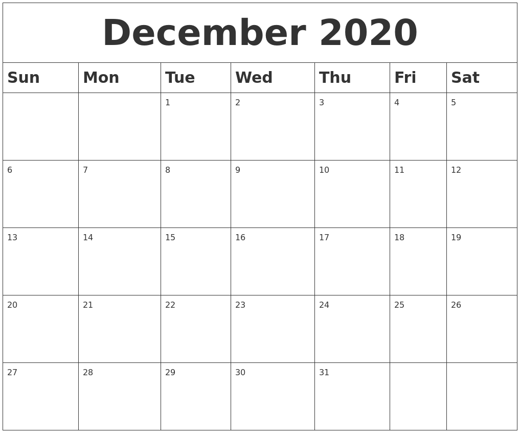 It is an image of Adorable Printable Calendars December 2020