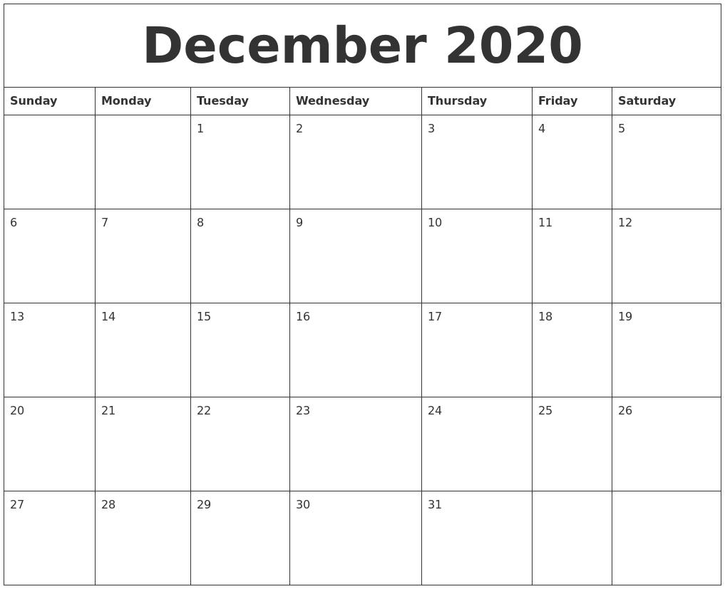 December 2020 Calendar Free Printable