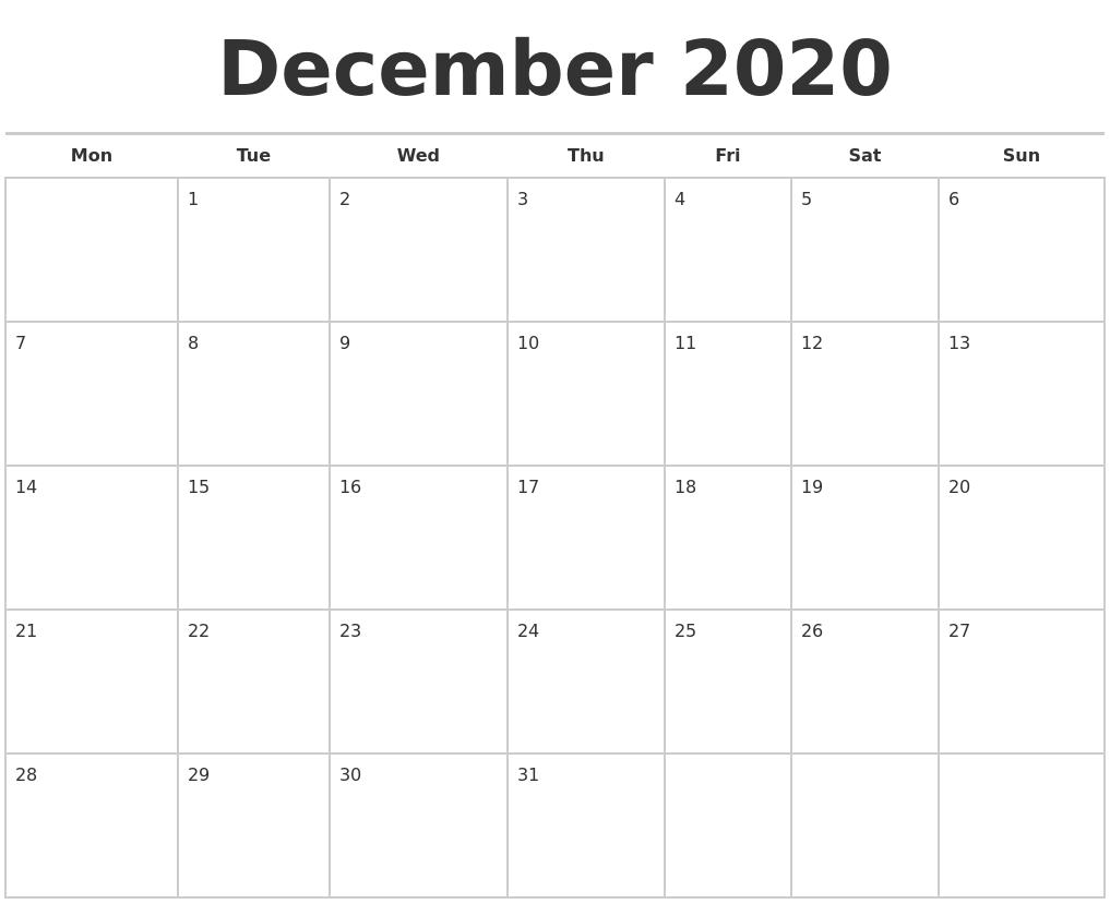 December Calendar 2020 : December calendars free