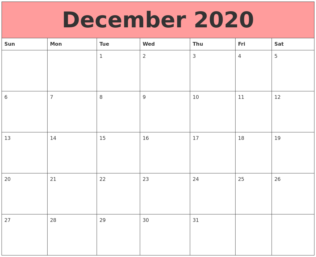 This is an image of Handy Printable Calendars December 2020