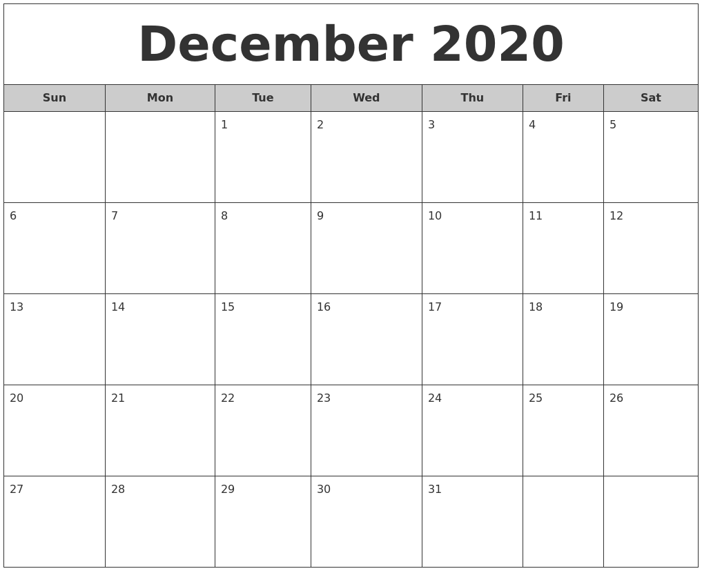 It is a picture of Effortless Printable Calendars December 2020