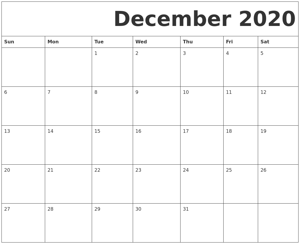 Printable Calendar December 2020.December 2020 Free Printable Calendar