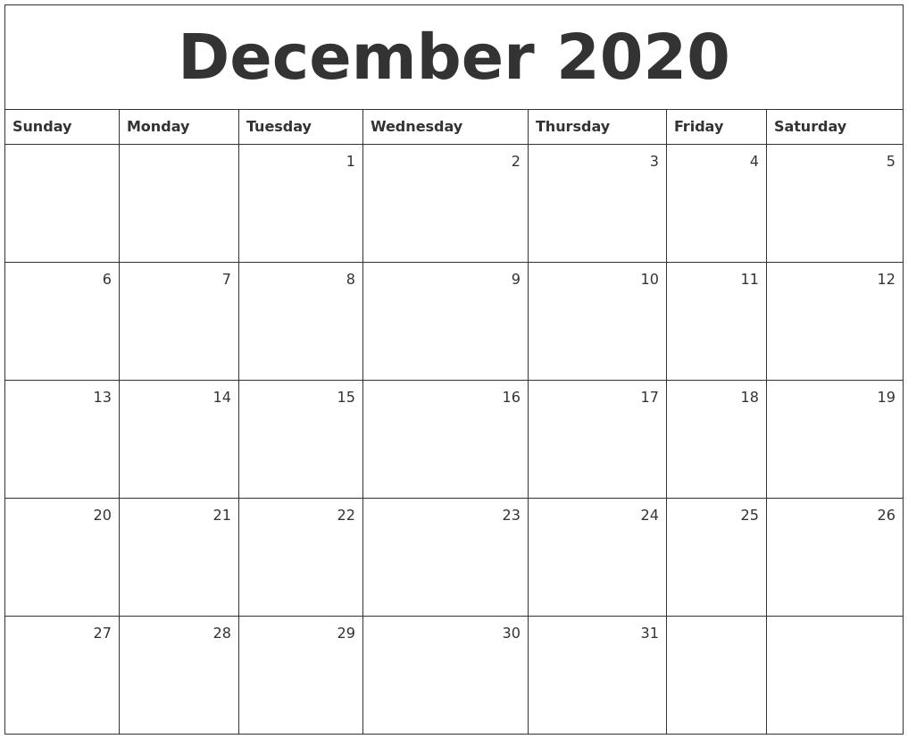 December Calendar 2020 : December monthly calendar