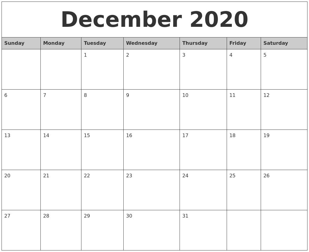December 2020 Monthly Calendar Printable PDF's