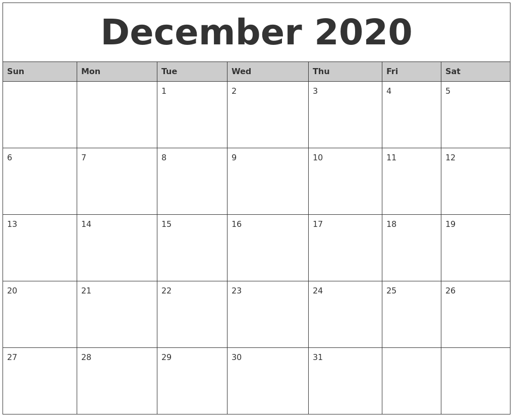 December 2020 Monthly Calendar Printable