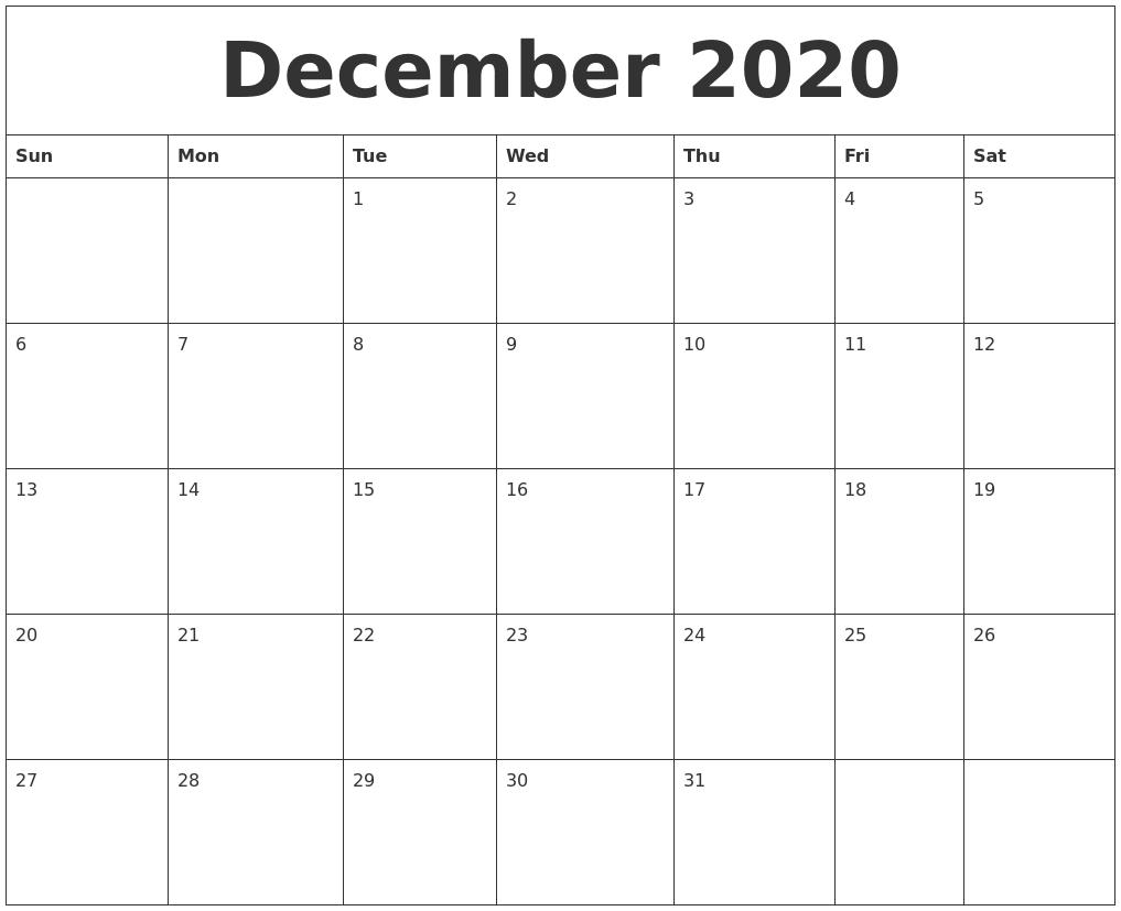 Printable December 2020 Calendar.December 2020 Monthly Printable Calendar