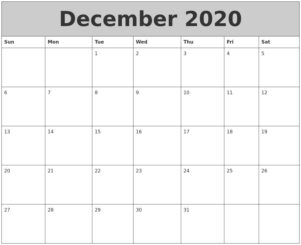 December Calendar 2020 : June calendar
