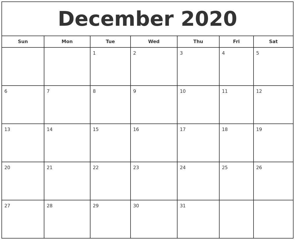 photograph relating to Calendars Printable Free identified as December 2020 Print Absolutely free Calendar