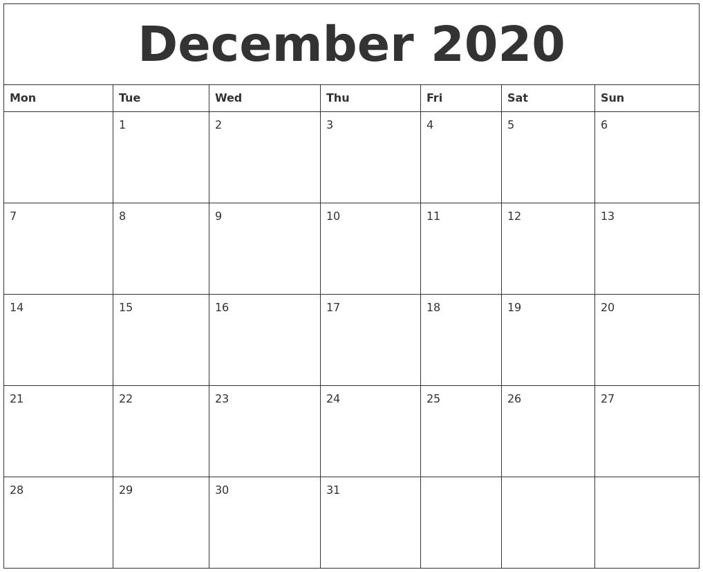 December 2020 Print Out Calendar