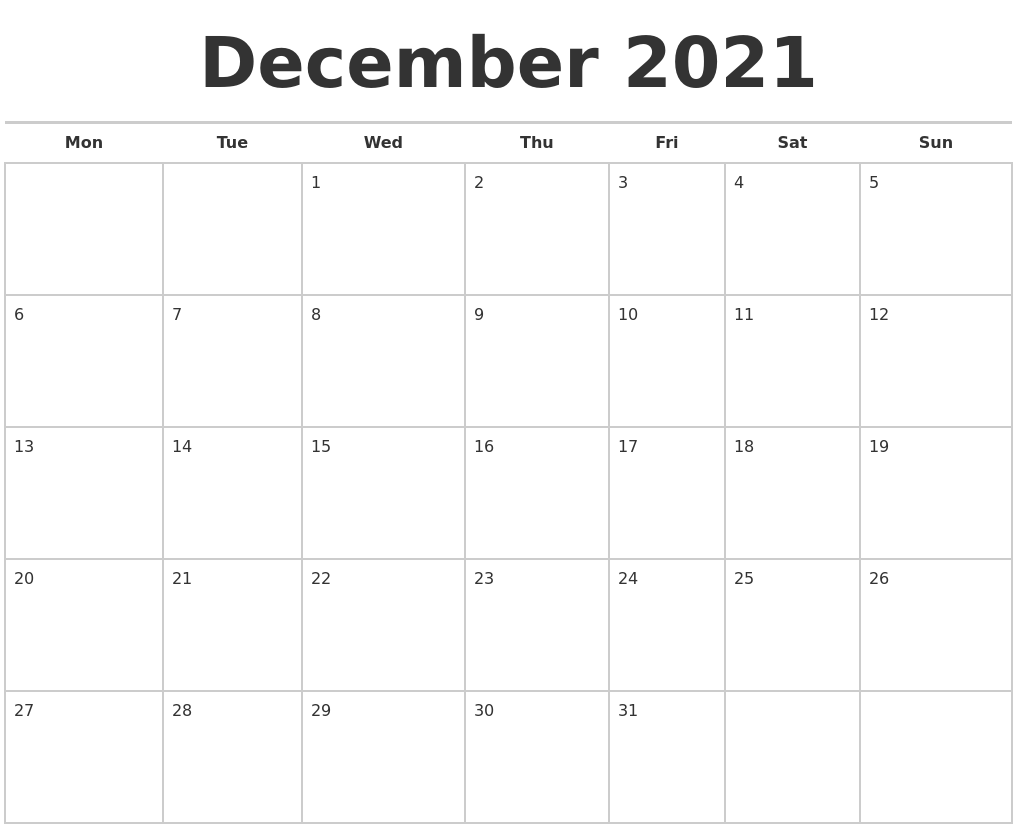 december 2021 calendars free