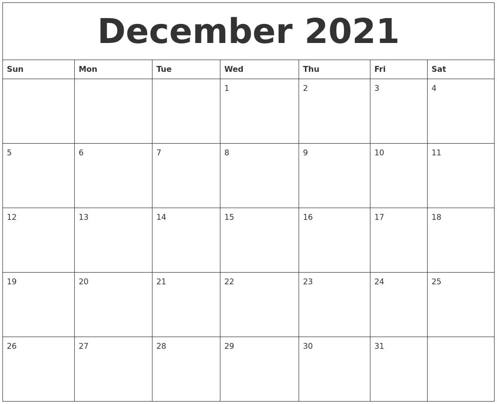 November Monthly Calendar 2021 December 2021 Free Printable Monthly Calendar